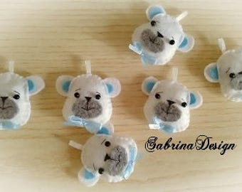 Bear felt favor baptism baby shower favors birthday favors communion felt favors bear keychain