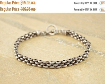 BIG SALE On Sale Hinged Dark Patina Vintage Style Chain Link Bracelet Sterling Silver 20.3g
