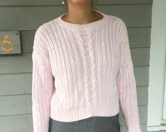 Vintage 90s Minimal Blush Chunky Cotton Cropped Cable Knit Sweater | S-L