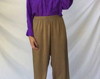 Vintage 80s Minimal Gold High Waisted Elastic Waist Pants | M/L
