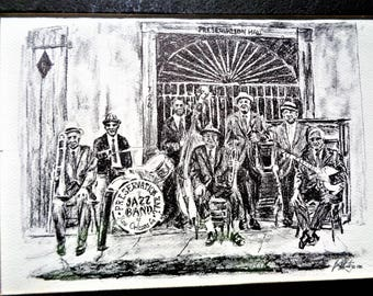 Vintage Brent McCarthy Print ...NEW, never opened! Preservation Hall Jazz Band, the French Quarter, New Orleans, Lousiana