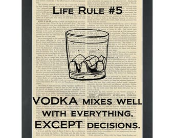 Funny alcohol quote about vodka Dictionary Art Print