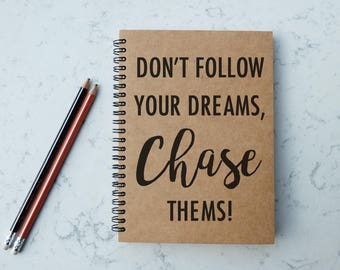 Dreams Chaser - A5 Spiral Notebook/Sketchbook/Kraft Journal/Personalized Journal - Blank paper - 036