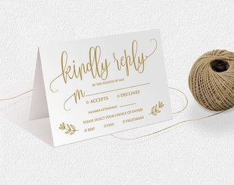 Gold script, Invitation Insert Kindly Reply, response card, printable wedding reply card, .DOC Template, Instant Download