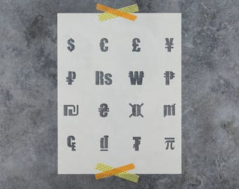Currency Symbols Stencil - Reusable DIY Craft Stencils of Currecy Symbols, Dollar Sign, Pound, and More
