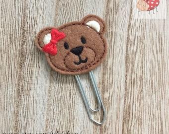 Teddy bear planner clip, teddy bear paperclip, Stationery, feltie planner clip, organiser accessories, feltie paperclip, paperclip, planner