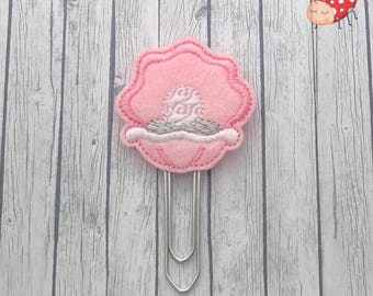 Clam pearl Planner clip, clam pearl paperclip, feltie Paper clip, Stationery, organiser accessories, bookmark, journal