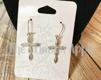 Silver tone Cross earrings