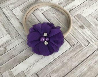 Purple flower headband - baby girl gift - purple headband - bejewled flower bow- chiffon flower headband - one size nylon bow - newborn bow