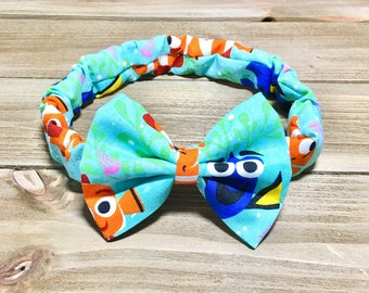 Finding Dory Headband Finding Dory Bow Finding Dory Hair Bow Finding Dory Outfit Toddler Headbands Newborn Bow Headbands Girls Headbands