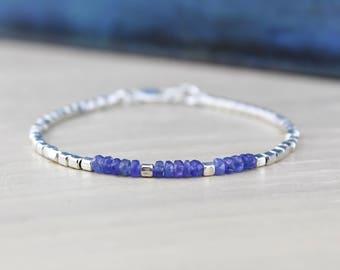 TANZANITE BRACELET/Delicate Bracelet/Gemstone Bracelet/Tanzanite and Sterling Silver/December Birthstone/Birthstone Bracelet/Gift For Her