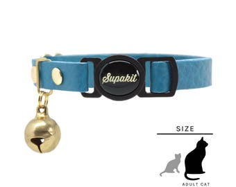 "Cat Collar, Leather with Safety Breakaway Buckle - ""Azure"" // PASTEL collection"