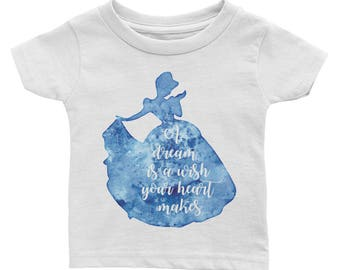 Cinderella A dream is a wish your heart makes silhouette blue watercolor Infant Tee