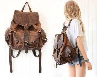 Brown Leather Backpack Distressed Leather Rucksack Backpack Vintage Leather Backpack Drawstring Backpack Rucksack School Laptop Camera Bag