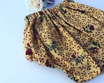 Handmade, vintage, floral, mustard, autumn, baby girl, toddler, bloomers, nappy cover, cake smash, newborn,