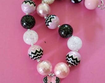 4th Birthday Minnie Mouse inspired chunky bead necklace