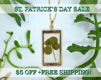 "SALE! Genuine 4 Leaf Clover Rectangle Necklace [AC 010] /Rose Gold Tone 18"" Necklace / White Clover Pendant/Triforium Repens/Good Luck Charm"