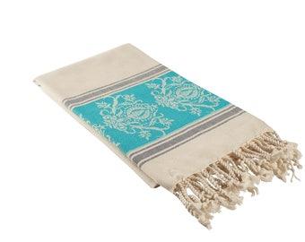 Cream & Aqua Blue Damask Luxury Turkish Towel, Extra Large Peshtemal Bath Towel, Oversized Beach Towel, Thin Fouta Towel, Hammam Bath Sheet