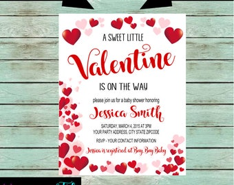 Baby Shower Valentine Sweetheart Hearts Party Invitations Invites Personalized Custom ~ We Print and Mail to You