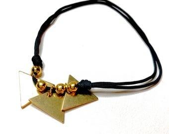 Black adjustable cord and gold triangle shape charm bracelet