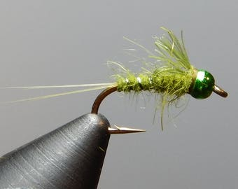 Three (3) Queen Green flies, w/ tungsten weight, size 12-16, for fly fishing