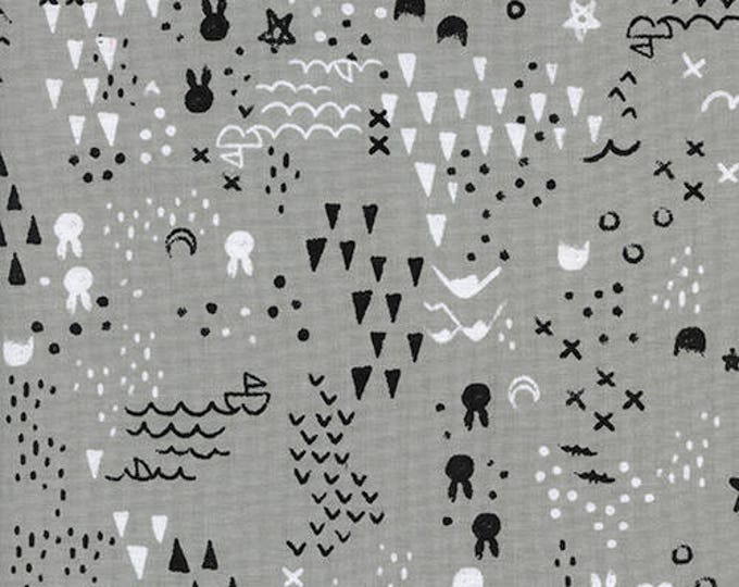 Featured listing image: One Yard Cut - Maps in Grey - Sleep Tight by Sarah Watts for Cotton + Steel -  Quilters Cotton