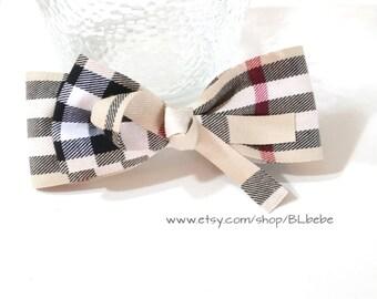 Baby Girl Women Classic Plaid Ribbon hair clip,Double Ribbon Hair Bow
