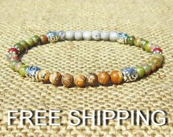 Bohemian Stretch Bacelet, boho jewelry, southwesern bracelet native american style, rustic jewelry, boho tribal bracelet, jasper bracelet