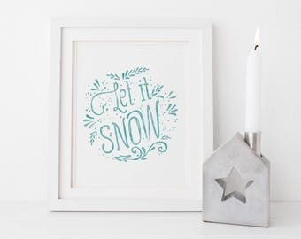 Let it Snow, Christmas Printable Art,  Festive Home Decor, Rustic Christmas Decor, Winter Holiday Sign, Xmas Decoration, Instant Download