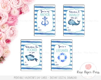 Nautical Valentine's Day Cards | Printable Valentines | Kids Valentine's Day Cards, School Valentines, Classroom Valentines, Boy Valentines