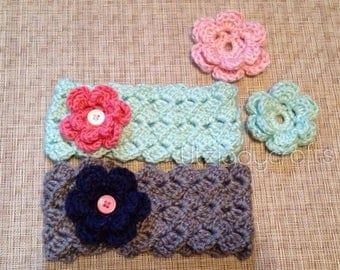 Wide Baby Headband with 2 Changeable Flowers-Crocheted Headband-Changeable Flowers-Button Flowers-Attached Flowers-Hair accessories