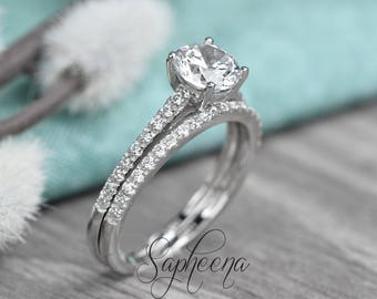 Brilliant Round Cut Engagement Ring with Half Eternity Band, Solid 14k White Gold, Set of 2, Wedding Ring Set, Bridal Set of 2 by Sapheena
