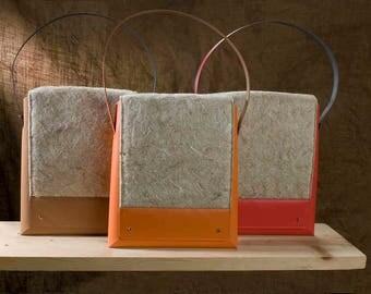Raw Hemp fiber shoulder bag and recycled leather-hemp shoulder bag and recycled leather