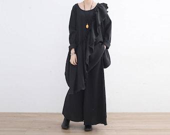 Cotton shirt, plus size shirt, women shirt, long loose tunic, oversized shirt, black shirt, extravagant shirt, black cotton shirt, long 47