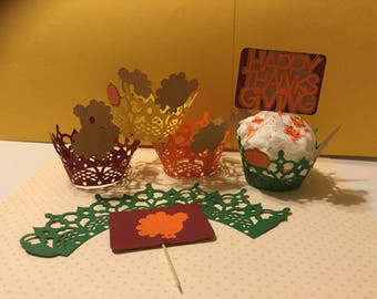 "THANKSGIVING  CUPCAKE WRAPPERS - Handmade - Quantities of 12, 24 and 36 - Measures 2"" x 3"" x 2"".   In beautiful fall colors.  Standard Size"