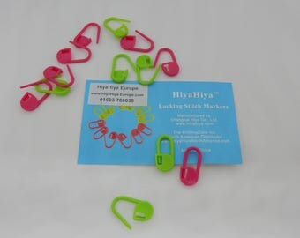 HiyaHiya Locking Stitch Markers Pink and Green packet of 12