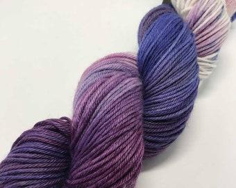 Hand Dyed Yarn Oddball Blue and Violet Purple Fade 100g/225m DK Double Knitting 75/25% Superwash Merino/Nylon Mulesing Free