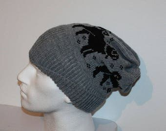 Grey with Black Pug dogs - with or without pompom slouchy beanie hat