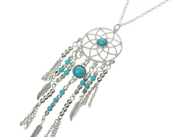 Boho Dreamcatcher necklace / large / silver and turquoise