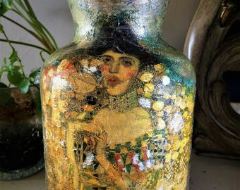 Klimt Portrait of Adele Bloch Bauer style glass vase