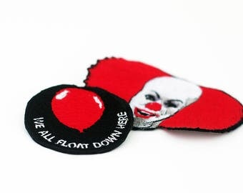 2 Patch Set Stephen King's It Patches, Pennywise Patch, We All Float Down Here Patch, Pennywise the dancing clown, Horror Movie Patch