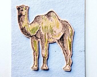 Handmade Ink Pen Card, Camel