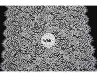 White Hollow Eyelash Lace Fabric Lace Trim 26.77 Inches Wide 1.64 Yards/ Craft   Supplies, WL1420