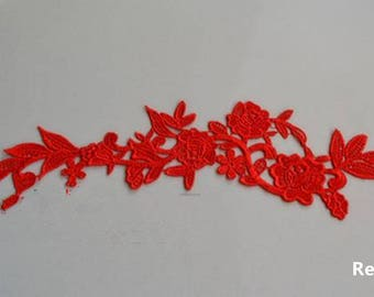 1 Pair Lace Applique Trim Appliques in Red for   Weddings,Sashes,Veils,Headpieces, WL768