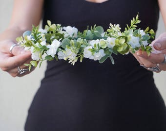 Flower crown wedding, baby's breath look crown, white floral crown, flower headband, bridal headpiece