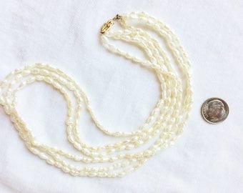 """Estate 14k Gold Freshwater Pearl 3 Strand Torsade Necklace Genuine Marked 14 K Kt 14kt Clasp 18"""" long Vintage White Cream Statement"""