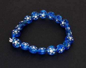 Blue Round Beaded Stretch Bracelet with Silver Sparkles