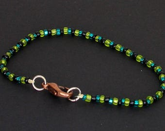 Green and Black Seed Beaded Bracelet with Lobster Clasp