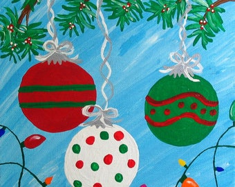8x10 inch Acrylic Christmas Painting on Canvas Board