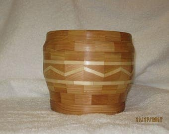 Decorative cherry segmented wood bowl